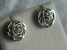 Clogau Sterling Silver & 9ct Rose Welsh Gold Royal Roses Topaz Stud Earrings
