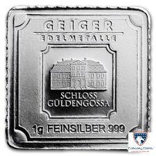 Lot of 5 - 1 gram Silver Bar - Geiger Edelmetalle (Original Square Series)