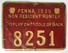 1935 PA Pennsylvania Non Resident Hunting License #8251 PGC Game Commission RARE
