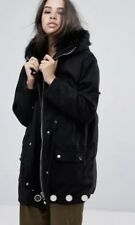 Asos Religion Black Parka Faux Fir Hood Zipped Sz L/14