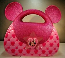 Minnie Mouse Pink Plastic Lidded Bag Purse Disney Store London Collectible
