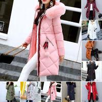 Women Ladies Winter Long Warm Thick Parka Jacket Hooded Coat Faux Fur Collar