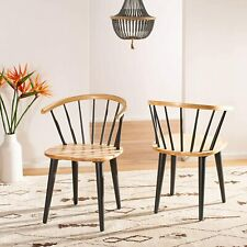 Safavieh Winston Side Chair Solid Natural Wood Leg Grey, Set of 2