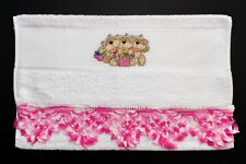"CROSS STITCH HAND TOWEL WITH CROCHET TRIM ""FIZZY MOON SHOPPING GIRLS"""