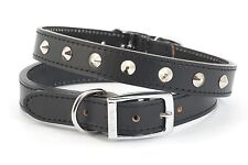"Ancol Leather Dog Collar - Studded - Black - 61cm (24"")"