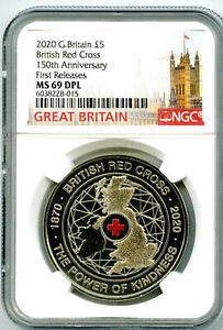 2020 GREAT BRITAIN 5PND BRITISH RED CROSS NGC MS69 DPL FIRST RELEASES RARE !
