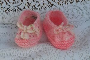 """*BEAR KNITS* Hand Knitted slippers in shades of pink fit up to 4"""" foot"""