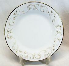 "Noritake China Duetto 6610 Salad Plate 8-1/4"" White/Gold Scrolls Border"