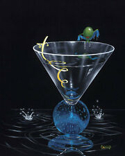 "*Michael Godard-""DRY MARTINI w/ TWIST""-Las Vegas-Party-Olive-Art*PRIVATE EDITION"