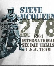 Men's Teeshirt Steve McQueen Trial Bike Design 1964 Sport White T-Shirt