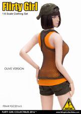 1:6 Flirty Girl's Figure Combat Short Fashion Clothing Set in Olive FGC-2016-5