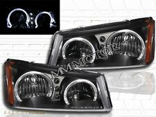 03 04 05 06 Chevy Silverado Avalanche Dual Halo Angel Eyes LED Headlights Black