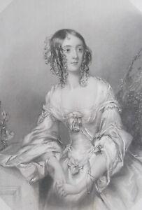 AMELIA CAPEL Lady of Queen Victoria's Royal Court - SUPERB 1840 Antique Print