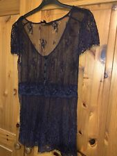 Topshop Tall Size 12 Navy Lace Top
