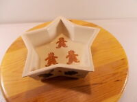 """New Hartstone Pottery Gingerbread Star Candy Dish Christmas Holly Leaf USA 8"""""""
