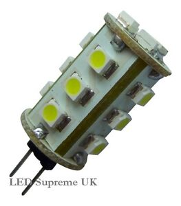 G4 15 LED SMD 12V (10-30V DC / 12-18V AC) 1W 110LM White Bulb ~10W