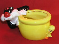 Tweety Bird & Sylvester Warner Bros. Ceramic Bowl Planter
