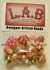 Lilah Ann Beads Package, Hand-beaded beads, Boho, Pink and Gold - A-A517