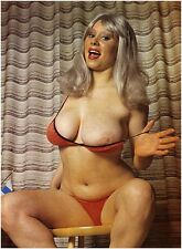 1960s Nude Pinup Huge Breasts in Red Thong Bikini  8 x 10 Photograph