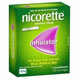 Nicorette Inhalator 1 Mouthpiece & Cartridges Nicotine 15mg 20 Pack Quit Smoking