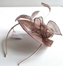 New Mocha pink flower cap sinamay aliceband fascinator wedding races ascot prom
