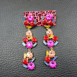 New Betsey Johnson woman rare Alloy Rhinestone drop Earrings Fashion Jewelry