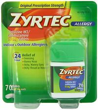 Zyrtec Allergy ((70 Tablets)) 10 mg..Exp. Date**/.2019 ((Pack of 5)) 350 Tablets