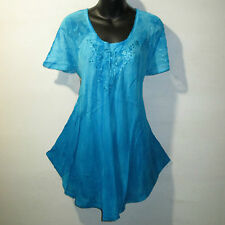 Top Fit XL 1X 2X 3X Plus Tunic Turquoise Tie Dye Lace Sleeves A Shaped NWT G7782