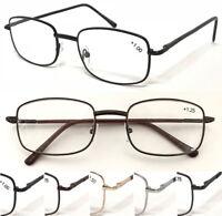 L16 Unisex Traditional Rectangle Metal Frame Reading Glasses/Spring Hinges Specs