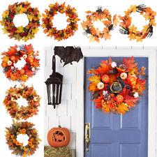 More details for door wreath autumn leaf pumpkin flower berry christmas halloween deco led light