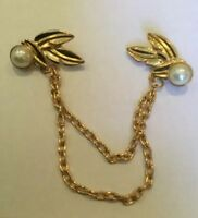 Faux Pearl Bead Tassel Chain Blouse Collar Twin Brooch Collar Pin Gift Vintage