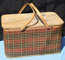 REDMON Picnic Basket Woven Tartan vintage red plaid