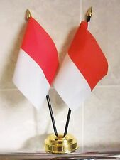 INDONESIA X2 TABLE FLAG SET 2 flags plus GOLDEN BASE INDONESIAN