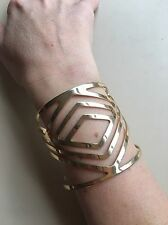 Anthropologie Modernist Wide Cuff Bracelet NEW Gold Cut-Out Artsy