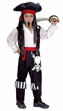 BOYS KIDS PIRATE CAPTAIN JACK FULL FANCY DRESS UP COSTUME OUTFIT & HAT 6-8 NEW