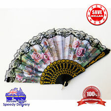 New Dramatic Colourful Spanish Style LACE Folding Hand Held Fan Party Accessory