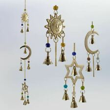 Sun Moon Star CelestialBrass Wind Chime colorful beads & bells - Indoor/Outdoor