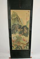 Antique Chinese Scroll Men On Horses Trees Mountains Signed Stamped