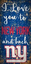 """New York Giants I love you to and Back Wood Sign - NEW 6"""" x 12"""" Wall Decoration"""