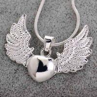 Fashion 925 Silver Heart Angel Wing Charm Pendant Necklace Women Men Chain