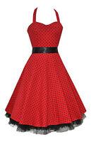 Ladies 40's 50's Red Polka Dot Halterneck Jive Swing Rockabily Dress New 8 - 26