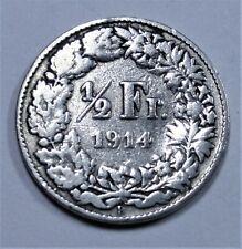 Schweiz 1/2 Franken 1914 B (Bern) Silber - Halvetika - SS+