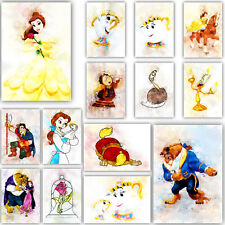 BEAUTY & the BEAST Collection Watercolour Art Print Nursery Wall Picture Poster