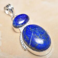 "Handmade Pyrite Lapis Lazuli Jasper 925 Sterling Silver 2.25"" Pendant #P13144"