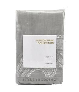 Hudson Park Modern Scroll Gray Cotton EURO Sham $130