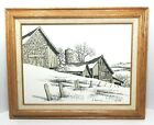 H. HARGROVE OIL PAINTING Barn/Farm Winter Scene Fence Silo Numbered 33/300