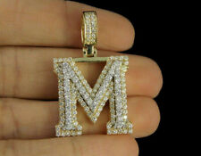 3D Custom Initial 'M' Letter 2.00Ct Diamond Charm Pendant 14K Yellow Gold Finish