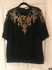 "Vintage 80s Frank Usher Black Gold Beaded Sequin Long Top Size L 14 16 46"" CHEST"
