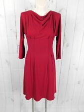 Kay Unger Solid Red Pleated Knit Cowl Neck 3/4 Sleeve Dress
