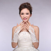 Lady Bride Wedding Dress Lace Hollow Out Bridal Gloves Bead Fingerless Glove